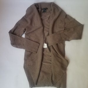 INC Brown Ribbed Cardigan Jacket Small NEW